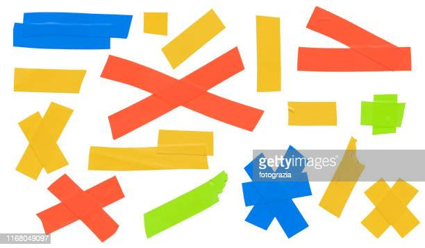 colorful masking tape collection - adhesive tape stock pictures, royalty-free photos & images