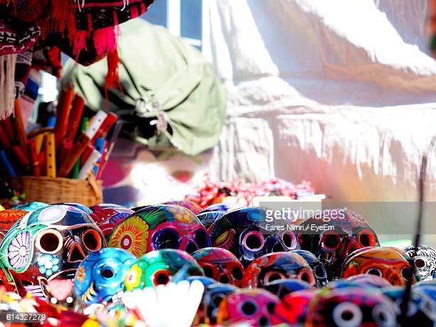 Colorful Masks For Sale At Market Stall