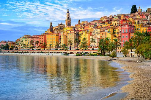 Colorful medieval town Menton on Riviera, Mediterranean sea, France 805553090