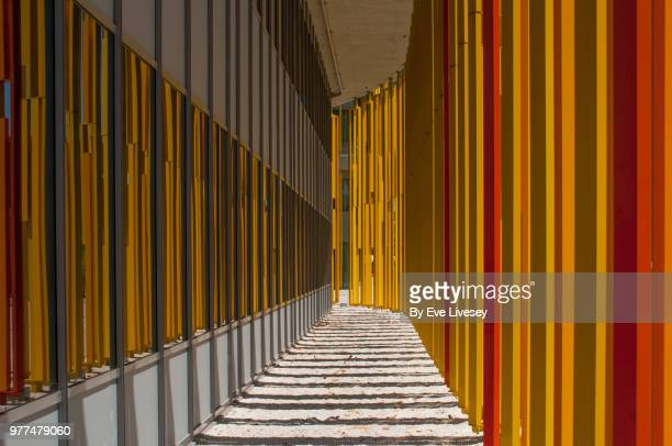 colorful metal blinds - asymmetry stock pictures, royalty-free photos & images