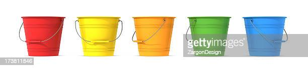 Colorful metal buckets with handle