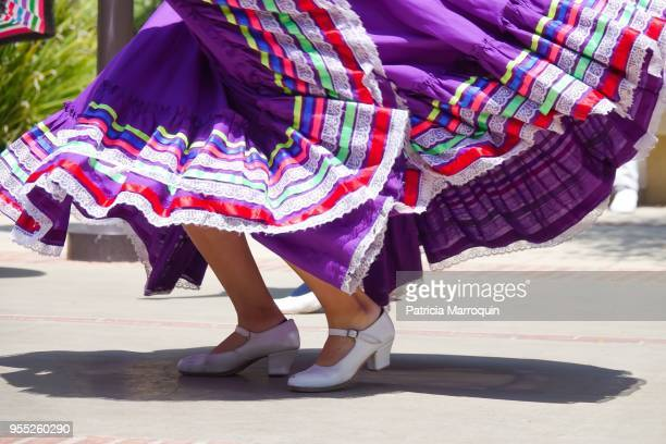 colorful mexican folklorico dancer - purple dress stock pictures, royalty-free photos & images