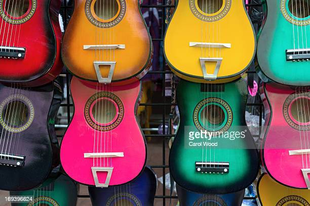 colorful mexican guitars - san antonio texas stock photos and pictures