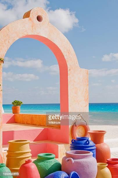 De barro do México colorido e arquitectura