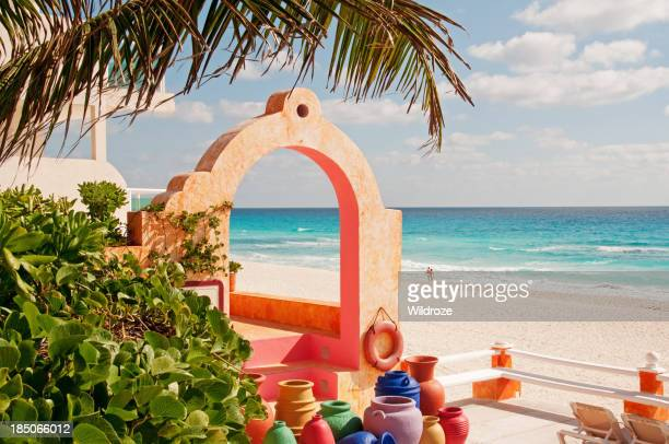 Colorful Mexican pottery and beach