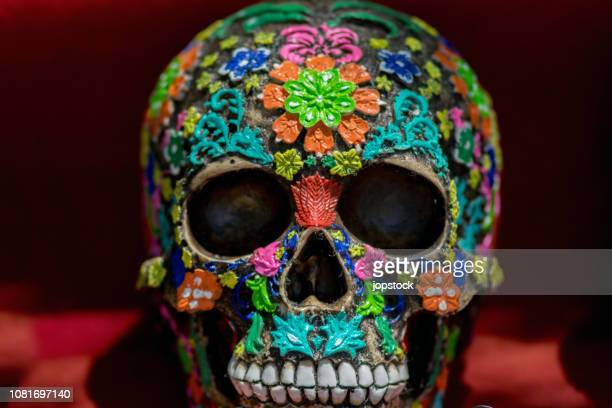 colorful mexican skull known as calaca - day of the dead festival stock photos and pictures