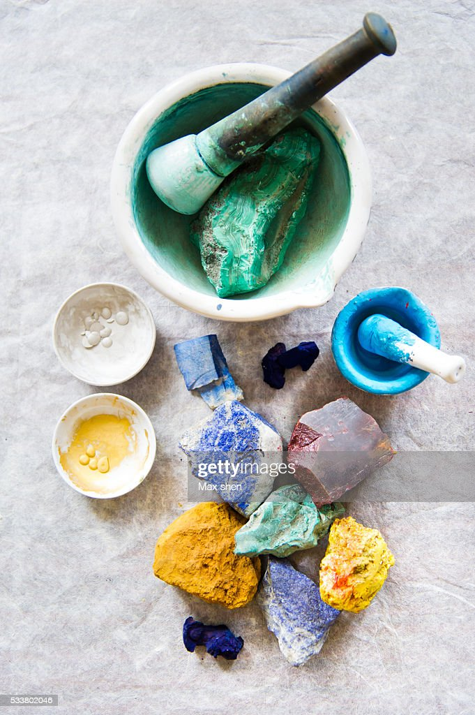 Colorful mineral pigments for painting Paubha : Foto stock