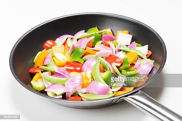 Colorful mixed vegetables in a frying pan