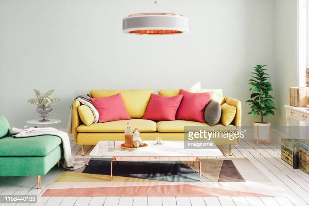 colorful modern living room design - multi coloured stock pictures, royalty-free photos & images
