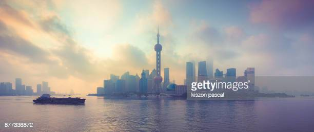 Colorful morning in Shanghai Lujiazui in china , Asia