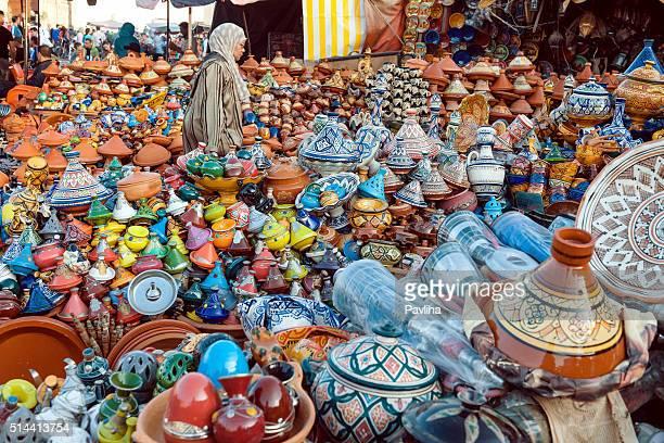 Colorful Moroccan Tajine Pots at a Souk , Meknes,Morocco, Africa