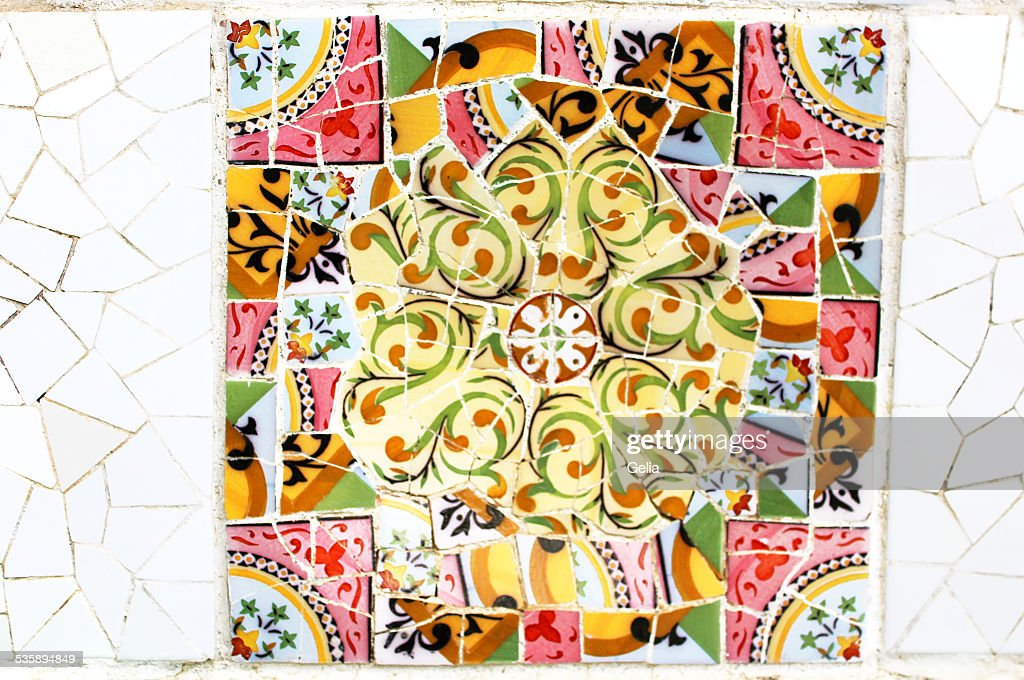 Colorful mosaic in famous Parc Guell in Barcelona, Spain : Stock Photo
