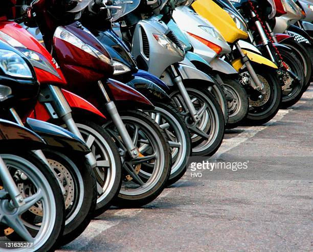 colorful motorbikes. - large group of objects stock pictures, royalty-free photos & images