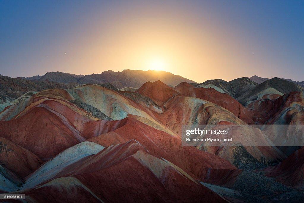 Colorful mountain in Danxia landform in Zhangye, Gansu of China : ストックフォト