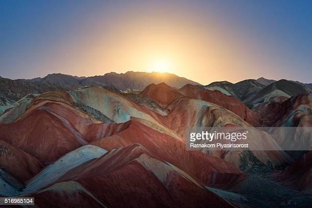 colorful mountain in danxia landform in zhangye, gansu of china - 丹霞地形 ストックフォトと画像