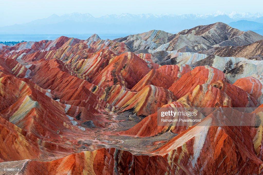 Colorful mountain in Danxia landform in Zhangye, Gansu of China : Stock Photo