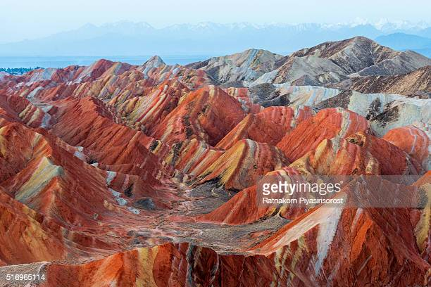 colorful mountain in danxia landform in zhangye, gansu of china - gansu province stock pictures, royalty-free photos & images