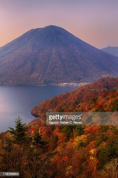 colorful mt. nantai during autumn - nikko city stock pictures, royalty-free photos & images