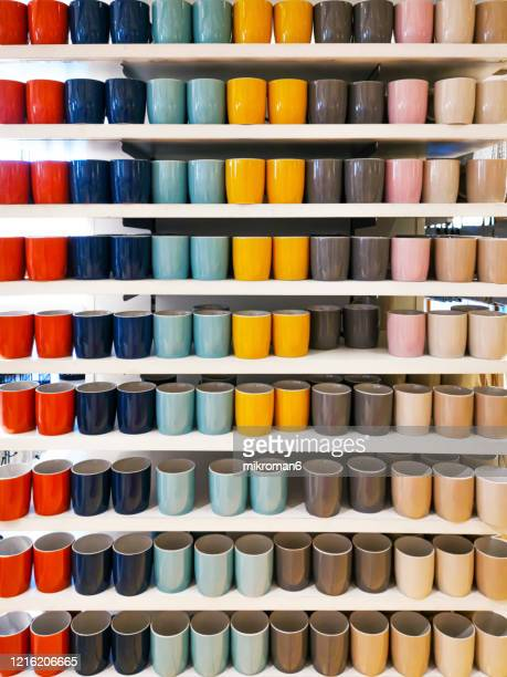 colorful mugs on shop - shop stock pictures, royalty-free photos & images