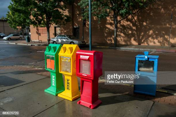 colorful newsstands at street of flagstaff city, arizona state, usa - news stand stock pictures, royalty-free photos & images
