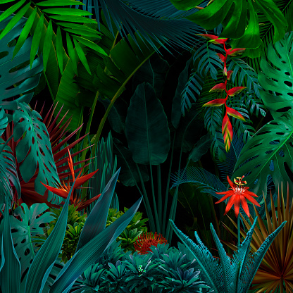 Colorful night jungle background 1056667138
