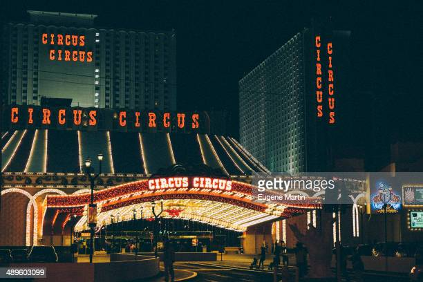 Colorful nightscape of the Circus Circus hotel in Las Vegas.
