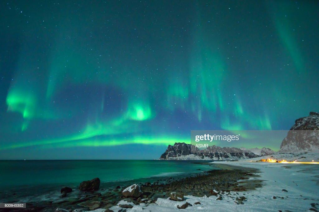 Bunte northern lights : Stock-Foto