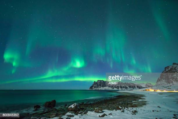 colorful northern lights - dramatic landscape stock pictures, royalty-free photos & images