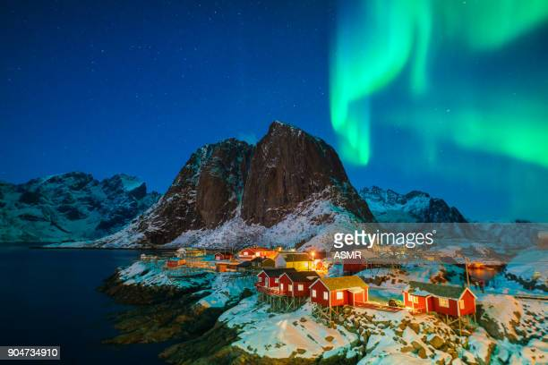 colorful northern lights - norway stock pictures, royalty-free photos & images
