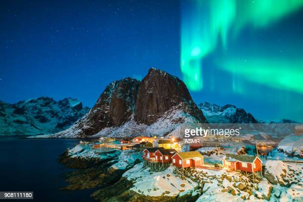 colorful northern lights - aurora borealis stock pictures, royalty-free photos & images