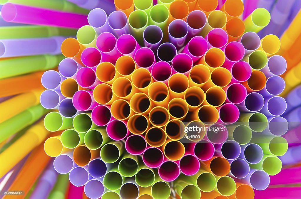 colorful of drinking straw background with heart shape : Stock Photo