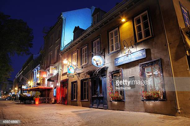 Colorful Old Quebec City Alley at Night