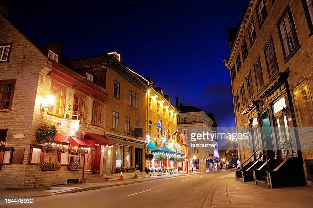 Colorful Old Quebec Street at Night