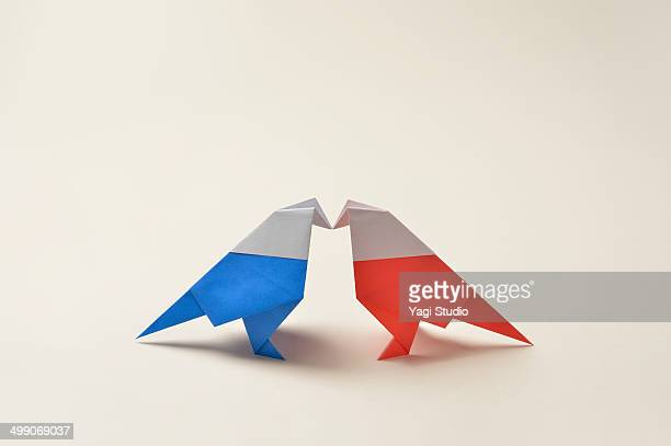 Colorful origami  two birds