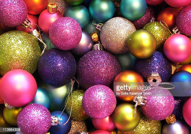 colorful ornaments - christmas ornaments stock photos and pictures