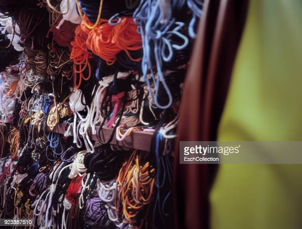 Colorful outdoor rope display at haberdashery shop