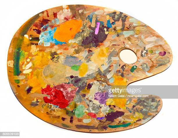 colorful paint palette - artist's palette stock photos and pictures
