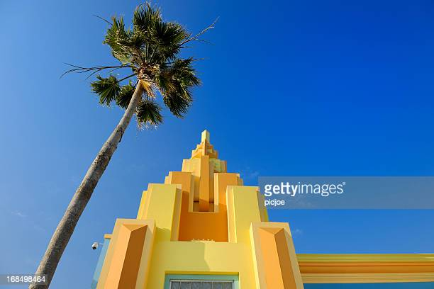 colorful painted Art Deco house on Ocean Drive Miami Florida