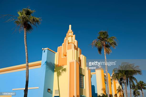 colorful painted Art Deco houses in Miami Florida USA