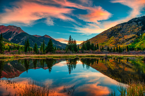 Colorful Panoramic Mountain View at Sunrise 1129473522