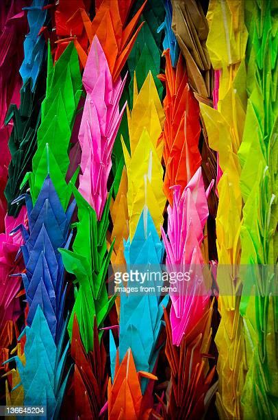 Colorful paper cranes