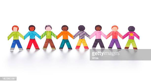 Colorful paper kids holding hands
