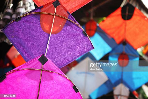Colorful Paper Kites at Shop in Asian Market