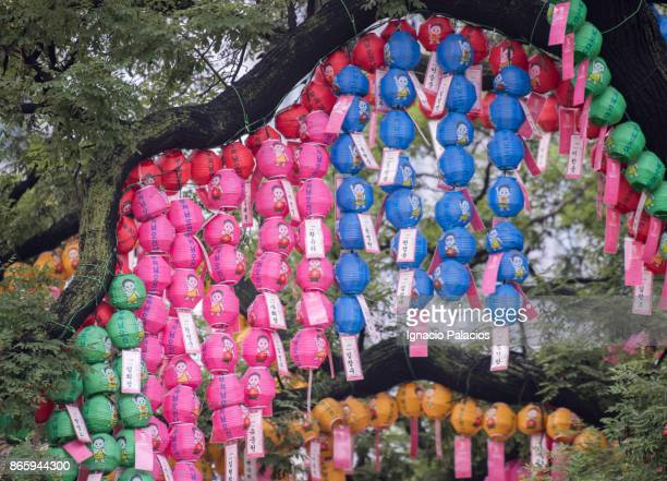 Colorful paper lanterns viewed from below at Jogyesa Temple in Seoul, South Korea