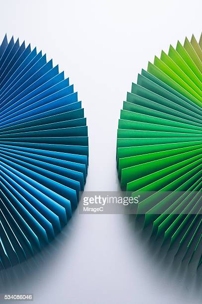 Colorful Paper Pages Semi-circle Opposite Half and Half