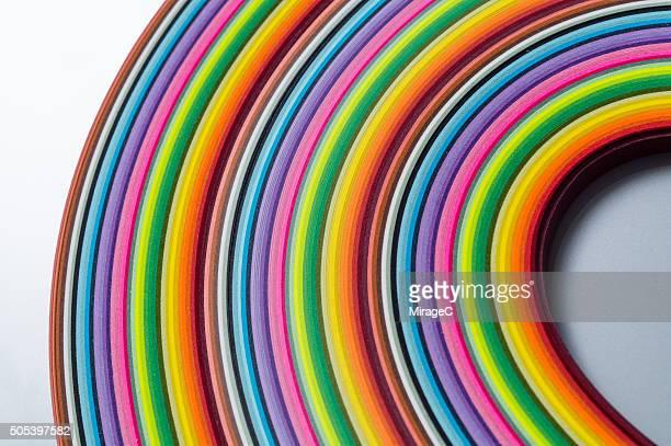 Colorful Paper Pile Curve Shape
