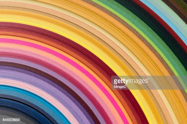 colorful paper stacking in curve shape - multi colored background stock pictures, royalty-free photos & images