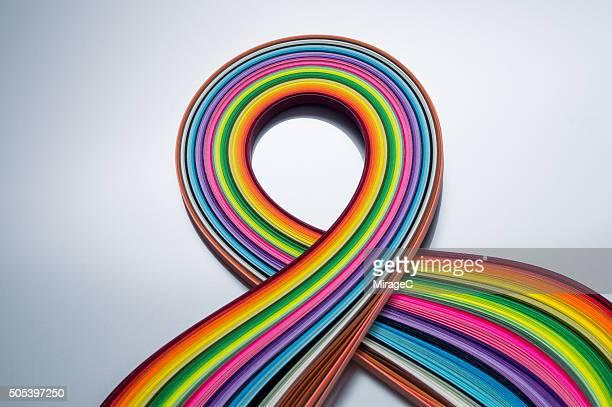 colorful paper stripes scarf shape - x art photos et images de collection