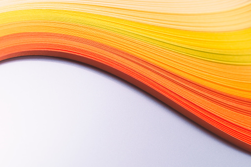 Colorful Paper Stripes Wave Shape, Orange and Yellow Color - gettyimageskorea