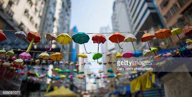 Colorful paper umbrellas on the street
